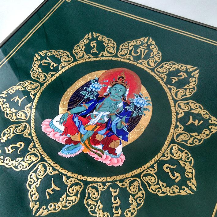 Zielona Tara, obraz, kaligrafia