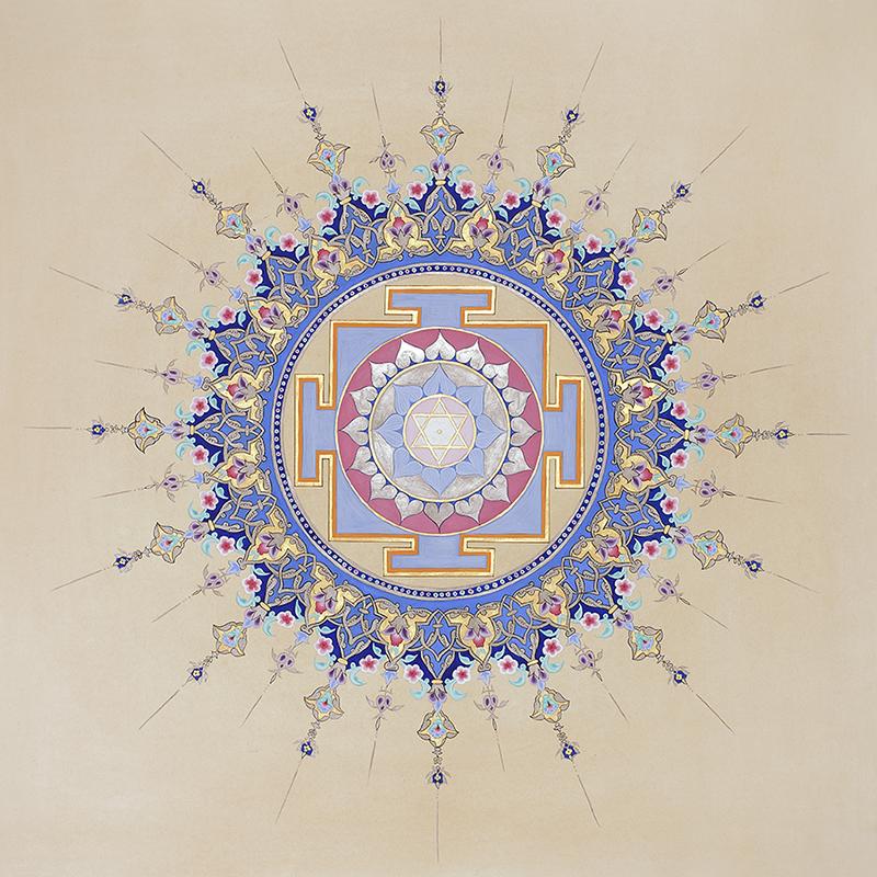 Yantra Księżyc Chandra. Złocona arabeska