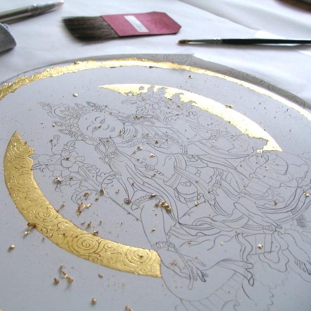 Zielona Tara szkic, złocenie